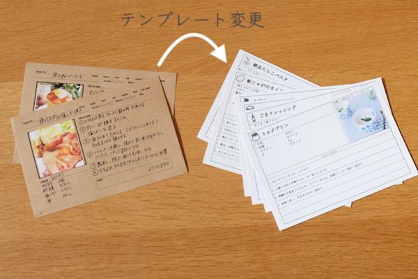 ちょっと前に作っていたのは、クラフト紙色のはがき(セリア)にインターネットで見つけた無料テンプレートを印刷し、手書きで書き込んだレシピカードです。